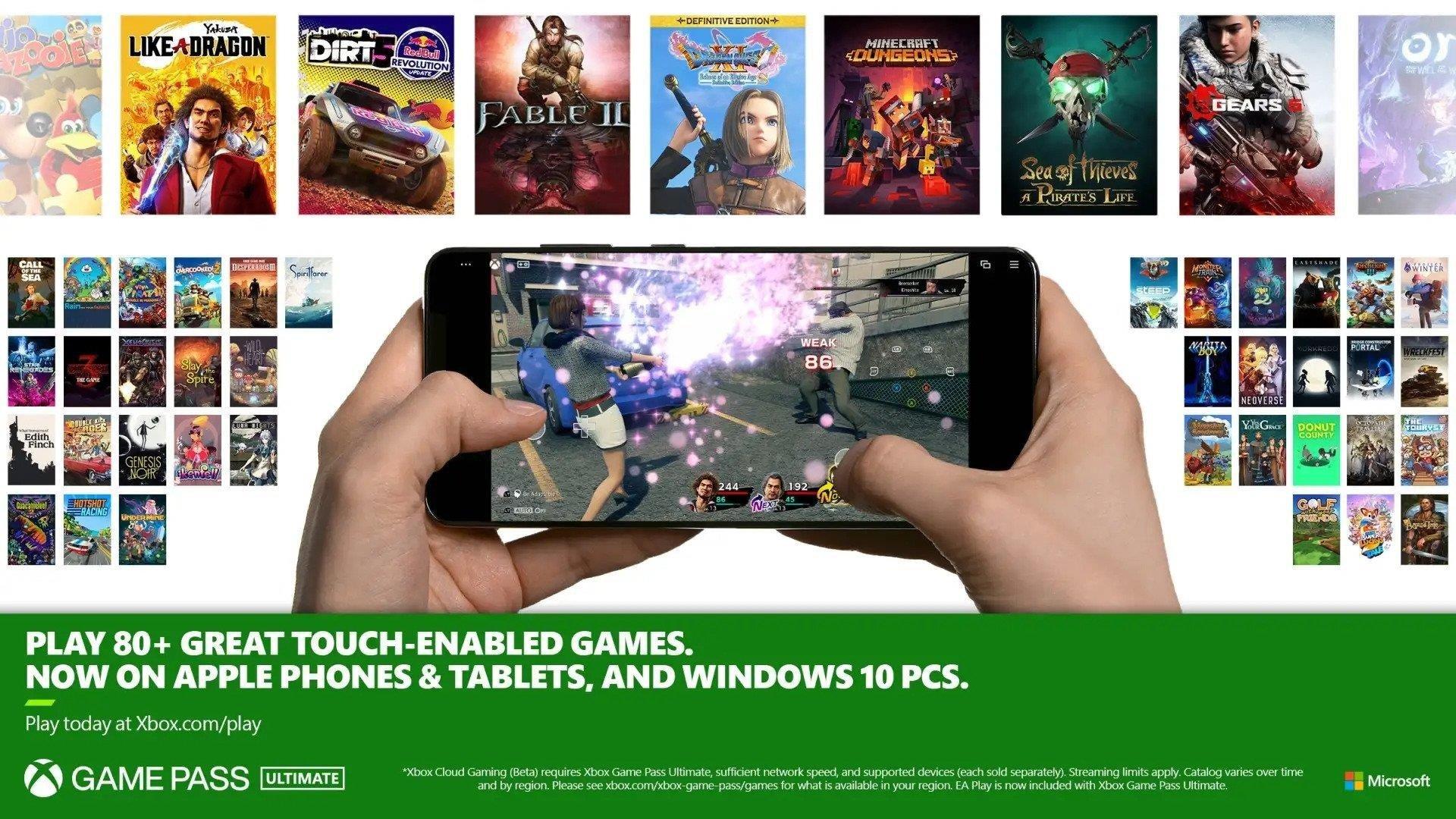 Controles táctiles para juegos en la nube de Xbox Xbox Game Pass Ultimate